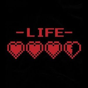 a video game life meter with 3.5 out of 4 hearts