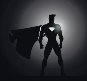 a silhouette of a male superhero