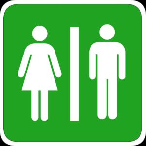 green ladies and gentlemen bathroom sign