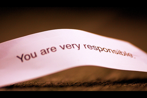 "fortune from a fortune cooke that reads ""You are very responsible."""