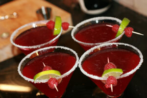 4 red cocktails, mainstay of poly entertaining