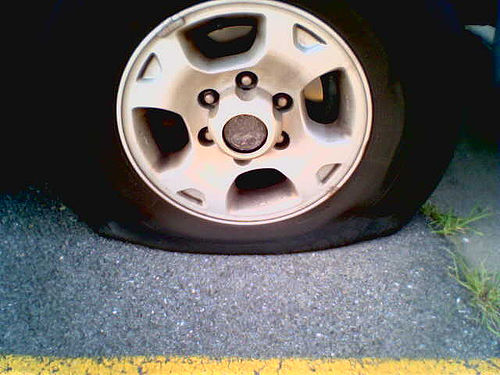 flat tire awaiting change