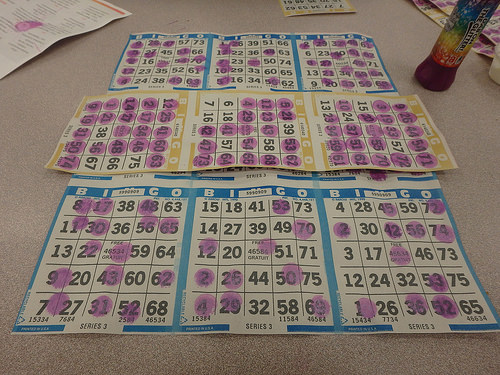 9 marked up bingo cards and a bingo marker