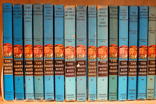 A collection of Hardy Boys novels. The Secret Makeouts is conspicuously absent.