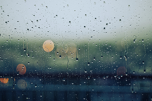 window being rained on