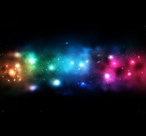 rainbow colored star clusters in outer space