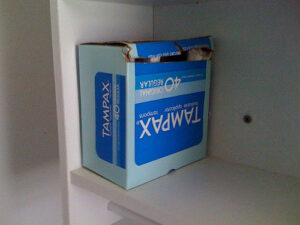 a blue box of tampax tampons, where I stored my fear and courage