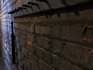 a brick wall in a dark room with a rack with hooks on it, and on the further hook there is a flogger hanging