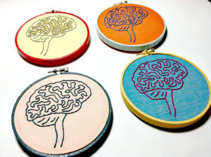 a set of 4 hand embroidered brains