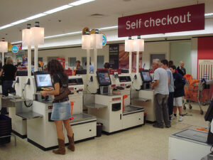 a supermarket self-checkout area