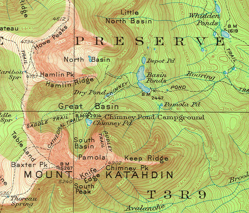 a topographical map of Mount Katahdin in Maine