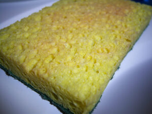 a yellow dish sponge