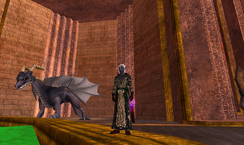 a screenshot from the game Everquest, it includes a dark elf and a dragon