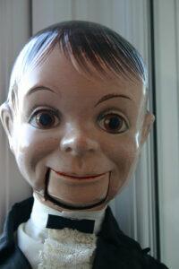a close up of a ventriloquist dummy