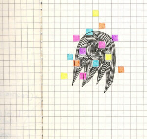 an open quad-ruled notebook. there is a drawing of a ghost with several multi-colored cubes imposed over it