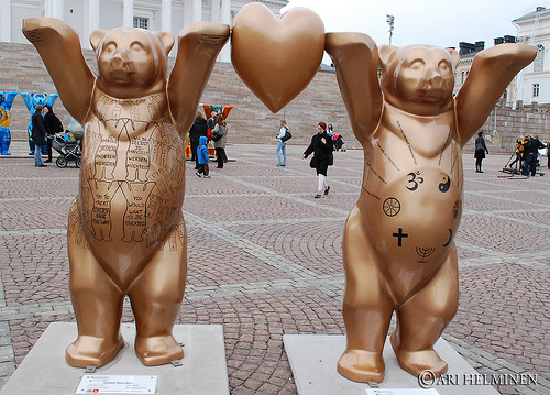 the United Buddy Bears in Helsinki, gold bear statues constructed to demonstrate the golden rule