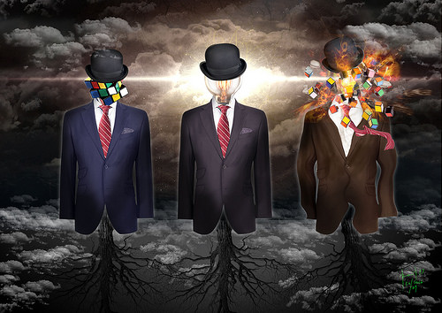 A surrealist image. A lightning storm rages on against a background of dark clouds. In the foreground are 3 dress forms, but their base is shaped by a tree-like structure, roots or dendrites (of neurons). On these 3 shapes are 3 suits and ties and a floating hat. Under the leftmost hat is a Rubik's cube in the process of being solved. Under the middle hat is a lightbulb. The rightmost hat covers a Rubik's cube that appears to be bursting into light.