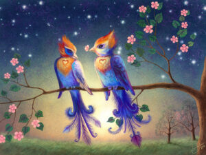 a painting of 2 lovebirds sitting on the branch of a flowering tree (looks like a cherry tree maybe). Behind them is a starry sky, and the sun is just starting rise
