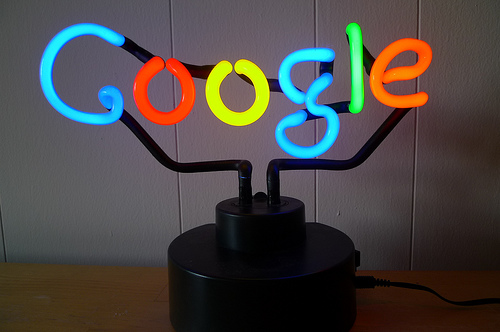 It's a neon sign of the Google logo