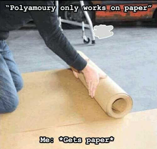"a picture of a person kneeling down and rolling out a roll of paper. The text over the image reads: ""Polyamory only works on paper."" Me: *Gets paper*"