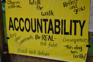 """It's a yellow poster board paper. In the center in large letters is the word """"Accountability."""" It also says (moving from top left and moving clockwise): """"stay on course,"""" """"walk the walk,"""" """"reflect and grow,"""" """"consequences,"""" """"This dog has teeth!"""" """"be real - not fake,"""" """"stand and deliver,"""" and """"keep your commitments"""""""
