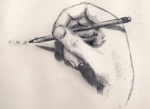 a black and white pencil drawing of a hand holding a pencil