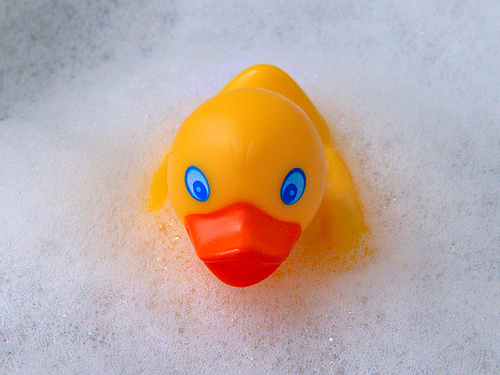 a yellow rubber duckie floating in a bubble bath