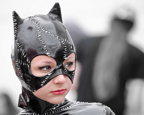 a picture of someone in a clingy catsuit, viewed from the shoulders up