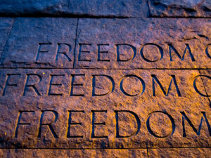 """a closeup of the Roosevelt Memorial. Stone that has the words """"FREEDOM"""" carved 3 times"""