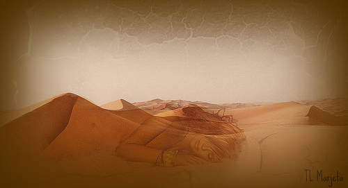 a painting of desert sand dunes. The image of a woman sleeping is superimposed over them.