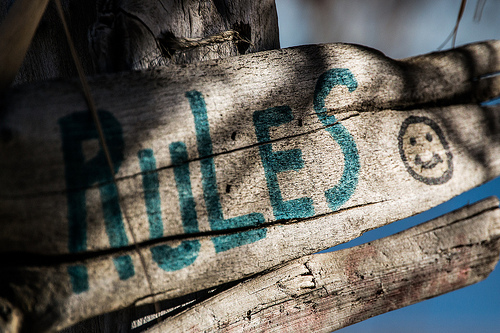 "a splintered piece of wood with shadows falling across it. The board has the word ""rules"" painted on it as well as a smiley face."