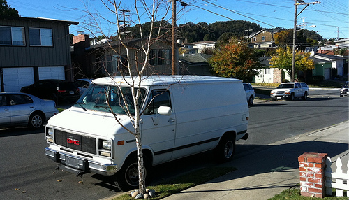 a white panel van parked on what appears to be a street in suburbia with a bare tree in the forefront of the image