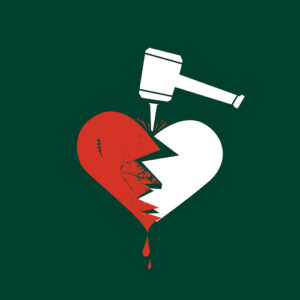 a drawing of a broken heart pounded with a mallet on a dark forest green background. The left half of the heart is colored red. There is blood dripping from the heart.
