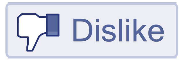 a blue button in the Facebook user interface style. It has a thumbs down symbol and says Dislike
