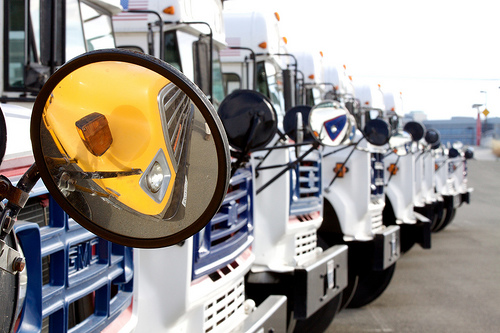 a row of white buses. In the foreground of the photograph is a side mirror. Side mirror depicts the reflection of a yellow bus.