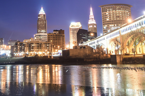 the bright city skyline of Cleveland at night