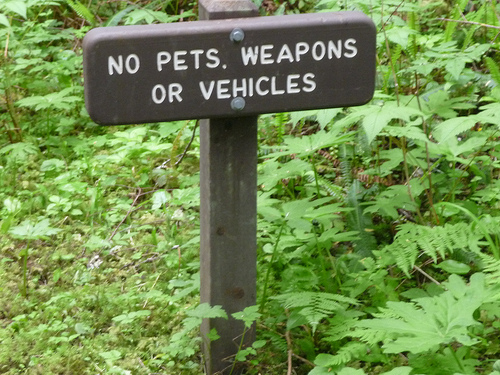 "a small brown sign with white letters that reads ""no pets, weapons, or vehicles"""