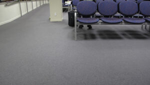a shot of an airport waiting area