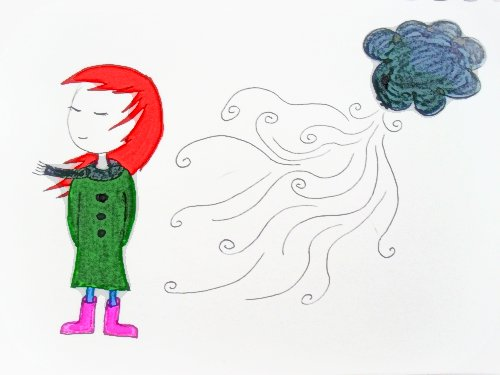a drawing of a person with long red hair who is wearing a blue scarf, green coat, and pink boots. Behind them is a cloud that seems to be making a lot of wind.