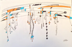 an artistic illustration of a music staff with various notes dangling from it, although they look more like multi-colored dangling jewelry, snakes, and nondescript squiggly shapes. very abstract.