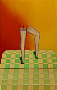 a drawing of a pair of legs wearing high heels on a yellow and green staircase looking entity all superimposed over an orange-red background