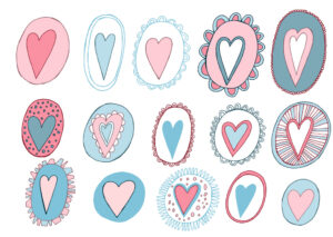 a wide variety of illustrated hearts in circles, an assortment of Valentine's, 15 total, with various borders and patterns