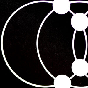 it's a closeup of a section of an orbital diagram in white superimposed over a black starry background