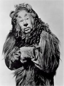 a black and white photo of the cowardly lion character from the original Wizard of Oz movie
