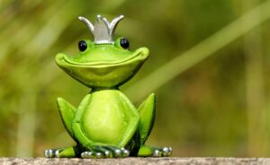 a closeup photo of a toy frog with a silver crown on its head