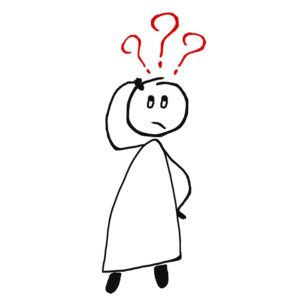 a stick figure with its hand on its head and 3 red question marks over its head