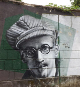 a mural of James Joyce, the writer