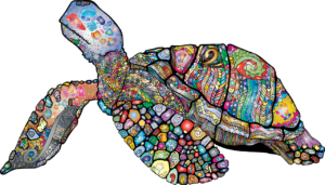 a sea turtle made of a brightly colored mosaic pattern