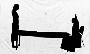 a shadowy outline of two people with long hair on either end of a table. The person on the left is standing. The one of the right is sitting in a chair