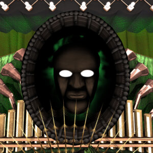 An imposing mask with a man's face on it. The eyes are cut out and appear to be glowing supernaturally. The background looks lush and green and elaborate, like Emerald City from the Oz books.